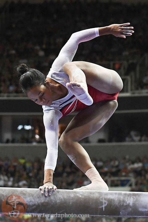 July 10, 2016; San Jose, CA, USA; Gabby Douglas, from Tarzana, CA, falls during the balance beam in the women's gymnastics U.S. Olympic team trials at SAP Center.