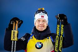 March 9, 2019 - –Stersund, Sweden - 190309 Johannes Thingnes Bö of Norway celebrates after the Men's 10 KM sprint during the IBU World Championships Biathlon on March 9, 2019 in Östersund..Photo: Petter Arvidson / BILDBYRÃ…N / kod PA / 92252 (Credit Image: © Petter Arvidson/Bildbyran via ZUMA Press)