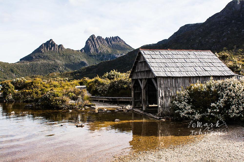 Historic boat house on Dove Lake, Cradle Mountain-Lake St. Clair National Park, Tasmania