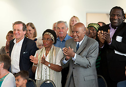 © Licensed to London News Pictures.09/05/2016. Bristol, UK.  Previous Bristol elected Mayor George Ferguson (left), Bristol Bus Boycott anti-racism campaigner Paul Stephenson (3rd left) and poet Miles Chambers (right) attend as Marvin Rees is sworn in as the new elected Mayor of Bristol. The Labour candidate won the Bristol Mayoral election beating his rival and the previous elected Mayor George Ferguson. The Bristol Mayoral election was seen as a two horse race between the incumbent mayor George Ferguson and Labour's challenger Marvin Rees. Operation Black Vote say that Marvin Rees is the first black elected mayor in Europe. Photo credit : Simon Chapman/LNP