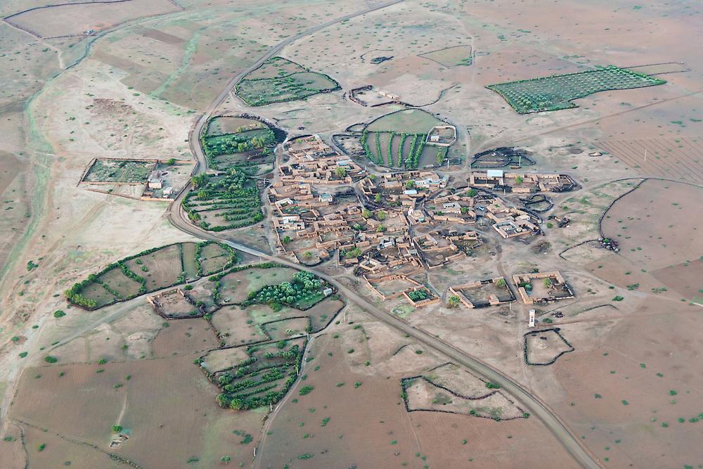 Aerial view of a village near Marrakech, Morocco.