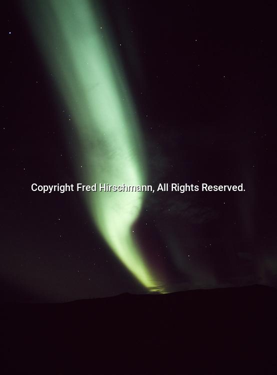 Green Aurora Borealis on September 26, 2011 above the Alaska Range east of Isabel Pass, Alaska.