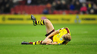 Burnley's Ben Mee holds his knee after picking up an injury after he was fouled by Nottingham Forest's Henri Lansbury which resulted in the Nottingham Forest captain being sent off<br /> <br /> Photographer Chris Vaughan/CameraSport<br /> <br /> Football - The Football League Sky Bet Championship - Nottingham Forest v Burnley - Tuesday 20th October 2015 - The  City Ground - Nottingham<br /> <br /> © CameraSport - 43 Linden Ave. Countesthorpe. Leicester. England. LE8 5PG - Tel: +44 (0) 116 277 4147 - admin@camerasport.com - www.camerasport.com