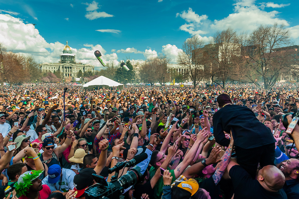B.o.B (Bobby Ray Simmons Jr.) performing at the 420 Cannabis Culture Music Festival, Civic Center Park, Downtown Denver, Colorado USA. This was the first 4/20 celebration since recreational pot became legal in Colorado January 1, 2014. A crowd of up to 80,000 people attended the event.