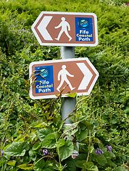 Signs indicating the Fife Coastal path in Fife, Scotland , UK