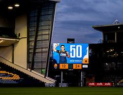 The big screen congratulates Meg Varley, following her 50th appearance for Worcester Warriors Women  - Mandatory by-line: Nick Browning/JMP - 20/12/2020 - RUGBY - Sixways Stadium - Worcester, England - Worcester Warriors Women v Harlequins Women - Allianz Premier 15s