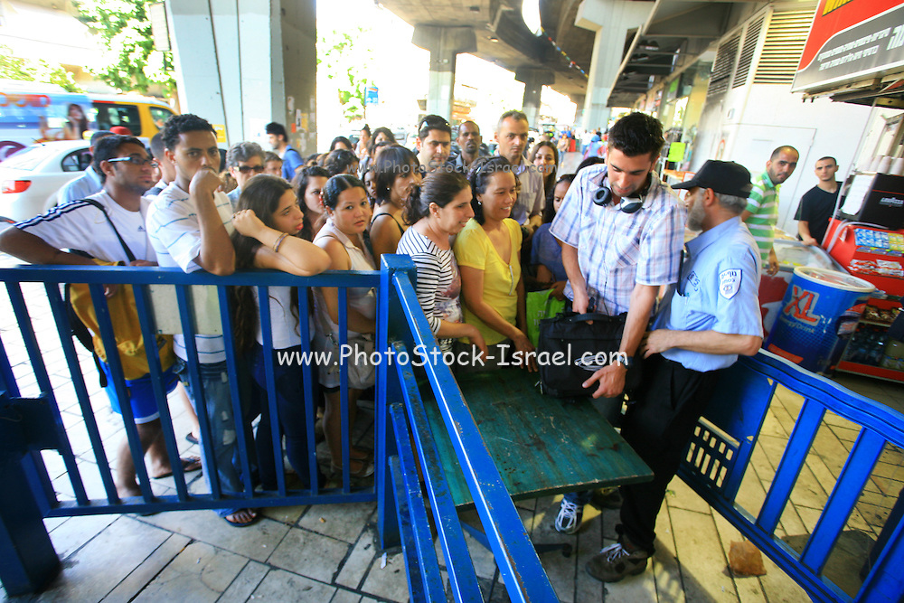 Due to heavy security check, long queues are formed at the entrance to the Tel Aviv central bus station. On Sep 11, 2011.  The increased body and baggage checks are caused by a anti terrorist alert issued in Israel as the Palestinian Authority nears its UN application date