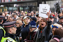 © Licensed to London News Pictures. 23/10/2018. London, UK. Supporters of former English Defence League leader Tommy Robinson outside the Old Bailey in London, where he is accused of contempt of court for breaking reporting restrictions around the Huddersfield grooming gang trial. Photo credit: Rob Pinney/LNP