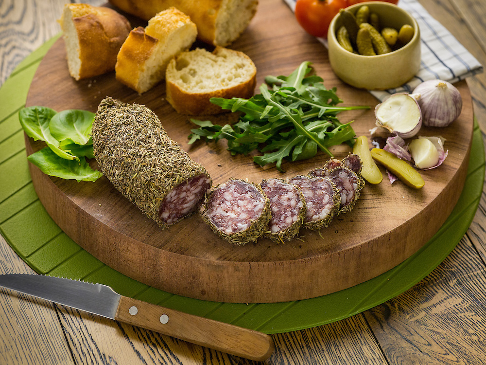 Saucisson aux herbes. La Boucherie meat products catalog on 25 May 2016 in Hong Kong, China. Photo by Lucas Schifres / Illume Visuals