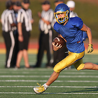 (Photograph by Bill Gerth/ for SVCN/8/18/17)  Prospect's Conor Messier picks up some yardage at the BVAL Football Jamboree at Leigh High School, San Jose CA on 8/18/17.