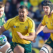 Kurtley Beale, Australia, makes a break during the South Africa V Australia Quarter Final match at the IRB Rugby World Cup tournament. Wellington Regional Stadium, Wellington, New Zealand, 9th October 2011. Photo Tim Clayton...