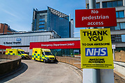'Thank You  to our Awesome NHS' signs near St Thomas' Hospital - The 'lockdown' continues in London because of the Coronavirus (Covid 19) outbreak.