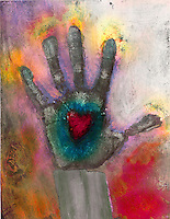 Passionate Proof. Hand Print with glowing heart and fingers lit with the passionate fire of energy.