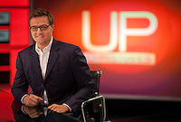 """Chris Hayes on the set of his MSNBC television show """" UP with Chris Hayes"""" in Rockefeller Center in New York. . . Photo by Robert Caplin"""