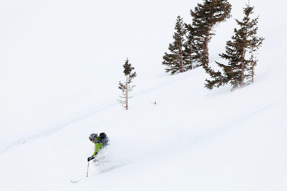 Judd MacRae skis deep powder below Hayden Peak, San Juan Mountains, Colorado.