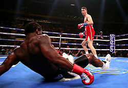 Callum Smith (right) in action against Hassan N'Dam in the WBA 'Super' World, WBC Diamond, Ring Magazine Super-Middlesweight title fight at Madison Square Garden, New York.