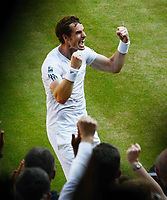 Tennis - 2013 Wimbledon Championships - Mens Final<br /> <br /> Andy Murray against Novak Djokovic<br /> Andy Murray - GBR celebrates with the crowd after winning match point