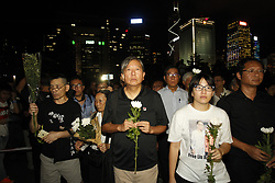 July 19, 2017 - Hong Kong, CHINA - Lee Cheuk Yan, ( C ), general secretary of HONG KONG ALLIANCE IN SUPPORT OF PATRIOTIC DEMOCRATIC MOVEMENTS OF CHINA, lead his comrades and citizens to offer flowers on the altar made for late LIU XIAO BO in the synchronized global remembrance for the Chinese political prisoner and Nobel Peace Prize Laureate. July 19,2017.Hong Kong.ZUMA/Liau Chung Ren (Credit Image: © Liau Chung Ren via ZUMA Wire)
