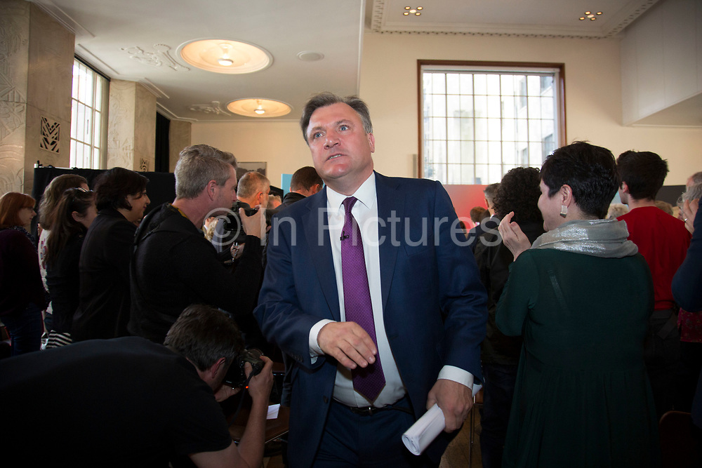 London, UK. Wednesday 29th April 2015. Labour Party Shadow Chancellor Ed Balls leaving a General Election 2015 campaign event on the Tory threat to family finances, entitled: The Tories' Secret Plan. Held at the Royal Institute of British Architects.