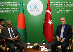 September 10, 2017 - Turkish President Recep Tayyip Abdul Hamid during The First Summit on Science and Technology of the Organisation of Islamic Cooperation, Astana, Kazakhistan, September 11th - 12th, 2017. (Credit Image: © Yasin Bulbul/Depo Photos via ZUMA Wire)