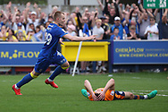 AFC Wimbledon striker Joe Pigott (39) celebrating after scoring goal to make it 2-1 during the EFL Sky Bet League 1 match between AFC Wimbledon and Oldham Athletic at the Cherry Red Records Stadium, Kingston, England on 21 April 2018. Picture by Matthew Redman.