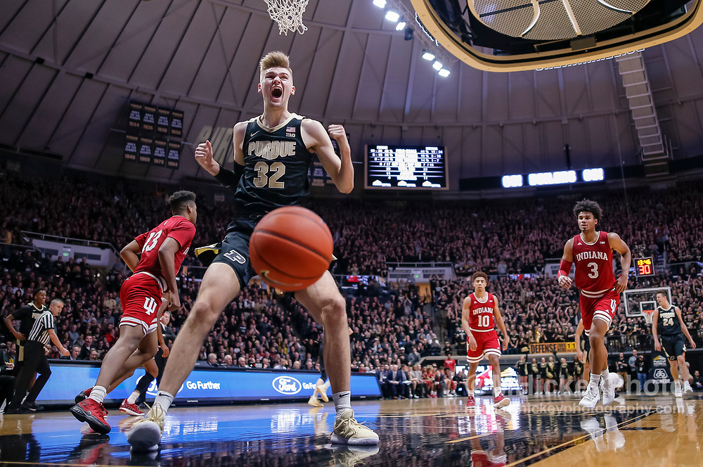 WEST LAFAYETTE, IN - JANUARY 19: Matt Haarms #32 of the Purdue Boilermakers reacts after dunking the ball against the Indiana Hoosiers in the second half of the game  at Mackey Arena on January 19, 2019 in West Lafayette, Indiana. (Photo by Michael Hickey/Getty Images) *** Local Caption *** Matt Haarms