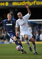 Photo: Tony Oudot/Richard Lane Photography. <br /> Southend United v Swansea City. Coca-Cola League One. 21/03/2008. <br /> Darren Pratley of Swansea beats Nicky Bailey of Southend to the ball