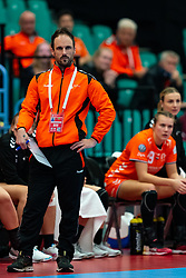 Coach Emmanuel Mayonnade of Netherlands in action during the Women's EHF Euro 2020 match between Netherlands and Serbia at Sydbank Arena on december 05, 2020 in Kolding, Denmark (Photo by RHF Agency/Ronald Hoogendoorn)