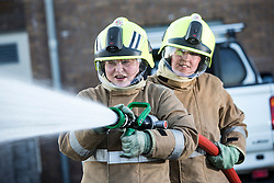 Sarah Jones and Heather Brown. News feature on the nearly all-female firefighting crew based at the Fire Shed, Lochaline, on the Morvern Peninsula.