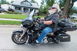 Pat Ford on the Annual Cycle Source and Michael Lichter Rides (combined this year) left from the new Broken Spoke area of the Iron Horse Saloon during the Sturgis Black Hills Motorcycle Rally. SD, USA.  Wednesday, August 10, 2016.  Photography ©2016 Michael Lichter.
