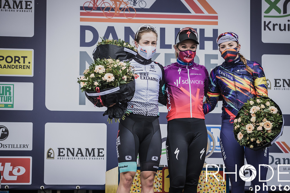 podium:<br /> 1st place: Amy Pieters (NED/SD Worx)<br /> 2nd palce: Grace Brown (AUS/BikeExchange)<br /> 3th place: Lisa Klein (DEU/Canyon SRAM Racing)<br /> <br /> 2nd Nokere Koerse WE (BEL) 2021<br /> UCI Women Elite 1.PRO<br /> One Day Race: Deinze > Nokere 124km