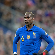 PARIS, FRANCE - March 25:  Paul Pogba #6 of France during the France V Iceland, 2020 European Championship Qualifying, Group Stage at  Stade de France on March 25th 2019 in Paris, France (Photo by Tim Clayton/Corbis via Getty Images)