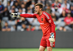 May 13, 2018 - Los Angeles, CA, U.S. - LOS ANGELES, CA - MAY 13: Los Angeles FC goalkeeper Tyler Miller (1) directs the defense during the game between New York City FC and the Los Angeles FC on May 13, 2018, at Banc of California Stadium in Los Angeles, CA. (Photo by David Dennis/Icon Sportswire) (Credit Image: © David Dennis/Icon SMI via ZUMA Press)