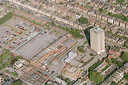 Aerial view of Braidwood Court in Nottingham with the Asda store to the left,