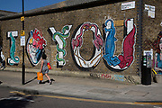 I love you, Street art by in Hackney Wick, East London, United Kingdom. Street art in the East End of London is an ever changing visual enigma, as the artworks constantly change, as councils clean some walls or new works go up in place of others. While some consider this vandalism or graffiti, these artworks are very popular among local people and visitors alike, as a sense of poignancy remains in the work, many of which have subtle messages.
