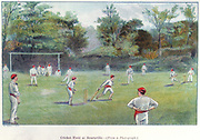 Cricket Field at Bournville', 1892. Bournville was the ideal village built near Birmingham for their employees by the chocolate manufacturers Cadburys, founded by the Quaker businessman John Cadbury (1801-1889). From 'Cocoa: All About it'. (London, 1892)