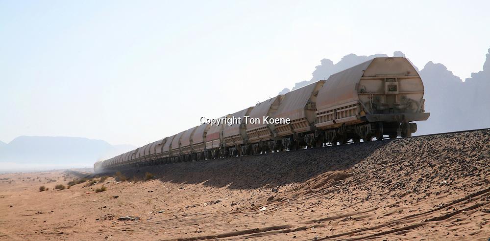 A train passing through Wadi Rum, Jordan