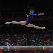 Aliya Mustafina, Russia, in action on the Balance Beam during the Women's Individual All-Around competition in which she won the Bronze Medal at North Greenwich Arena, during the London 2012 Olympic games. London, UK. 2nd August 2012. Photo Tim Clayton