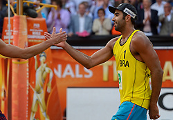 20150705 NED: WK Beachvolleybal day 10, Den Haag<br /> Pedro Solberg #1 BRA, Evandro Goncalves Oliveira Junior #2 BRA pakken de bronze medaille op het WK