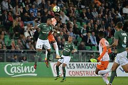 October 20, 2017 - Saint Etienne - Stade Geoffroy, France - Gabriel Silva (saint etienne) vs Issac Mbenza  (Credit Image: © Panoramic via ZUMA Press)