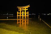 Japan, Miyajima, Itsukushima Temple The floating Gate at night