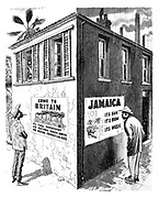 "(West Indian Immigrants - Both Sides of the Picture) ""Come To Britain - Its full Employment; Its National Health Service; Its Rising Production Index. Jamaica - Its Sun, Its Rum, Its Music"""