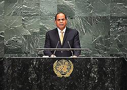 September 20, 2016 - New York, New York, United States of America - Egyptian President Abdel Fattah al-Sisi addresses the United Nations General Assembly in the Manhattan borough of New York, U.S. September 20, 2016  (Credit Image: © Egyptian President Office/APA Images via ZUMA Wire)