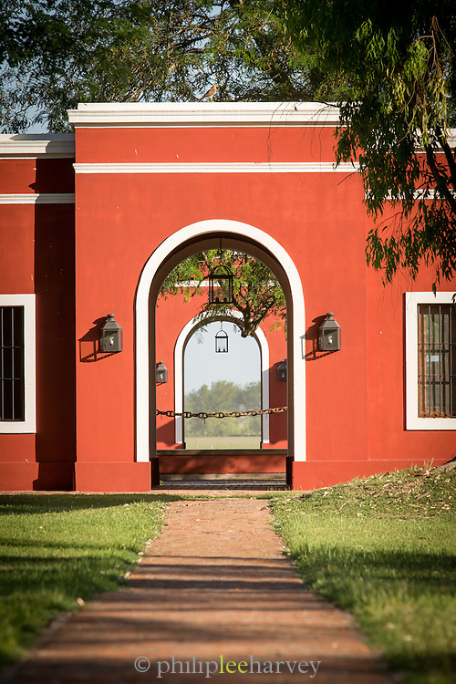 Exterior detail archway, Estancia La Bamba De Areco, Pampas, Argentina, South America