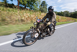 Mark Loewen of CA on his 1912 Excelsior during the Motorcycle Cannonball Race of the Century. Stage-2 from York, PA to Morgantown, WV. USA. Sunday September 11, 2016. Photography ©2016 Michael Lichter.