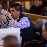 Navajo Nation council delegate Jonathan Hale discusses the petition process as he holds up a petition for special session during a special session of the Navajo Nation Council Thursday in Window Rock.