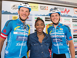 04.07.2015, Wien, AUT, Österreich Radrundfahrt, Mannschaftszeitfahren, im Bild v.l. Matthias Krizek (AUT), Rose May (AUT), Gregor Mühlberger (AUT, Team Felbermayr Simplon), // f.l.t.r. Matthias Krizek of Austria Rose May of Austria Gregor Mühlberger of Austria Rose May of Austria during the Tour of Austria, Team Time Trial, in Wien, Austria on 2015/07/04. EXPA Pictures © 2015, PhotoCredit: EXPA/ Reinhard Eisenbauer