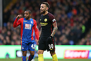 Nicolas Otamendi of Manchester City looking on. Premier League match, Crystal Palace v Manchester city at Selhurst Park in London on Saturday 19th November 2016. pic by John Patrick Fletcher, Andrew Orchard sports photography.
