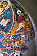 Romanesque frescoes from the Church of Sant Clement de Taull, Vall de Boi, Alta Ribagorca, Spain. Painted around 1123..  National Art Museum of Catalonia, Barcelona. MNAC 15806 .<br /> <br /> If you prefer you can also buy from our ALAMY PHOTO LIBRARY  Collection visit : https://www.alamy.com/portfolio/paul-williams-funkystock/romanesque-art-antiquities.html<br /> Type -     MNAC     - into the LOWER SEARCH WITHIN GALLERY box. Refine search by adding background colour, place, subject etc<br /> <br /> Visit our ROMANESQUE ART PHOTO COLLECTION for more   photos  to download or buy as prints https://funkystock.photoshelter.com/gallery-collection/Medieval-Romanesque-Art-Antiquities-Historic-Sites-Pictures-Images-of/C0000uYGQT94tY_Y