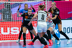Merel Freriks of Netherlands, Kelly Dulfer of Netherlands in action during the Women's EHF Euro 2020 match between Netherlands and Hungry at Sydbank Arena on december 08, 2020 in Kolding, Denmark (Photo by RHF Agency/Ronald Hoogendoorn)
